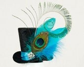 Black Mini Top Hat, Burlesque hat, Bachelorette hat, Steampunk hat, Fascinator, Alice in Wonderland hat,Mad Hatter hat,Tea Party, Derby hat