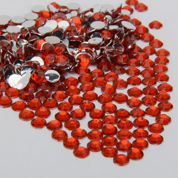 Sun Orange Flat Back Round Resin Rhinestones Embellishment Gems C7