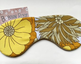Sleep mask / vintage flower 1970s fabric / travel sleep mask / flower power/ eye mask / night mask
