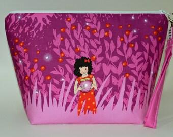 Pink Chasing fireflies Medium project bag