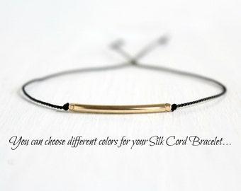 Dainty Silk Cord Bracelet Minimalist Best Friend Jewelry Black Gold Beaded Friendship Bracelet