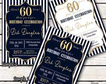 30th Birthday Invitations - Black & Gold Glitter 20th, 30th Birthday Invitation, 40th, 50th, 60th, 70th, 80th, 90th - 30th Invites Digital
