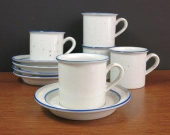Dansk Blue Mist Cups and Saucers - Dansk Designs Ceramic Tea Cups Mugs Saucers, Niels Refsgaard Design Teacups and Saucers, 4 Sets Available