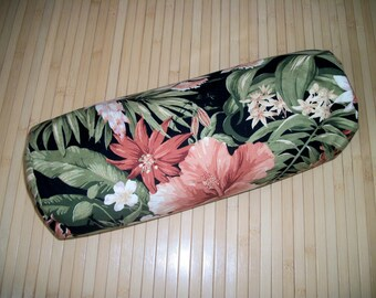 """Tropical Print Bolster Pillow. Meditation Prop. Home Decor Pillow.  Buckwheat filled insert.  Zippered. 15"""" x 5"""". USA made"""