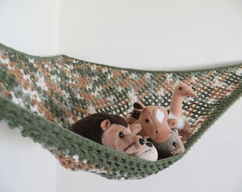 Crochet toy net hammock in sage green, cream and tan with green trim, stuffed animal storage for boys room