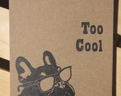 Hand Made Letterpress Printed Note Pad - Too Cool French Bulldog