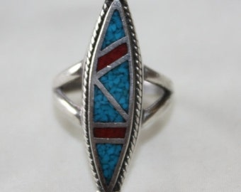 Valentines Sales Sterling Silver Turquoise Ring, Native American Ring, Tribal Ring,  Vintage 1960s  Jewelry