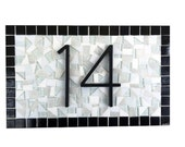 House Number Sign | Black and White | Minimalist Address Sign | Mosaic Address Plaque