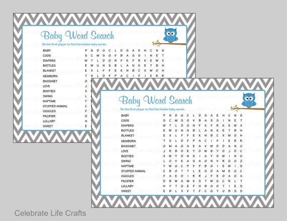 Baby Shower Game with Answer Key - Printable Baby Games - Owl Baby Boy ...
