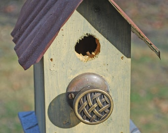 Tiny Yellow Birdhouse with Brass Perch and Rusty Tin Roof