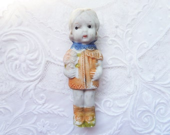 Vintage Bisque Penny Doll Girl Flowers Japan