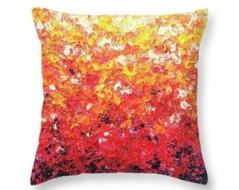 Colorful Art Pillow, Orange and Red Decorative Pillow, Red Home Decor, Accent Pillow, Abstract Art Pillow, Throw Pillow, Living Room Decor