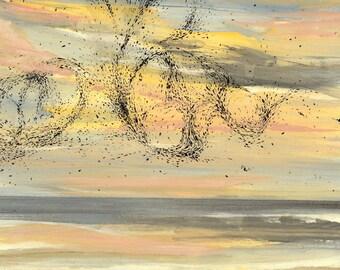 Flock of Sea Birds Color sketch #2 - Original Acrylic Painting