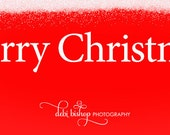 Merry Christmas - Facebook Timeline Cover With Holiday Greetings For Your Personal Page -Red Background With Snow Top -Instant Download