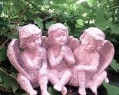 Pink Sisters - Trio of Pink Cherubs - Pink Statue - Garden Cherubs
