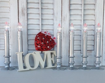 6 Silver Candeliers - Battery Operated Candlesticks - Flameless Candle Tablescape - Christmas