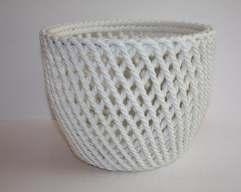 "Vintage White Ceramic Planter Basket Weave Look from Italy/9"" White Ceramic Planter/Large White Planter Rope Look"