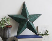 SALE - Small Green Amish Barn Star - Small Handmade Green Rustic Tin Amish Barn Star - 11 inches