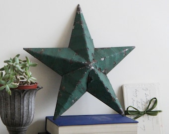 SALE - Small Green Amish Barn Star - Small Handmade Green Rustic Tin Amish Barn Star - 11 inches