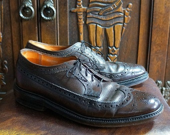 Brown Wingtip Shoes Vintage Brogues Pebbled Scotch Grain Leather Upper & Sole Vintage Wing tips Long Wing Longwing Ambassadors by Miles