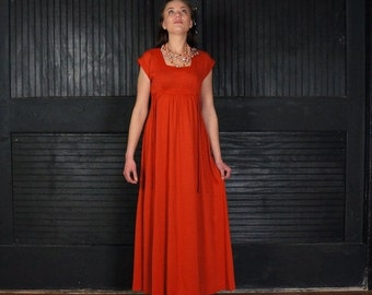 Vermillion Laces 1970 Vintage Bohemian Maxi Dress SMALL Short Sleeve Empire Waist Formal to Casual UT Burnt Orange Retro 70s