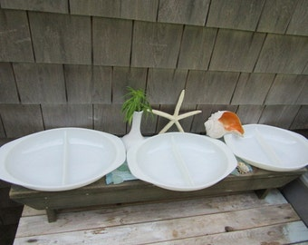 Three Vintage Milk Glass Pyrex Divided Serving Dishes 3