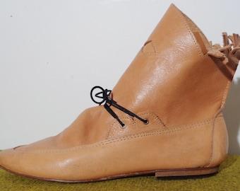 Vtg 70s Isabel Marant Style Caramel LEATHER FRINGE Boots with LACES by Ibiza, 37, 7, 6.5, 6