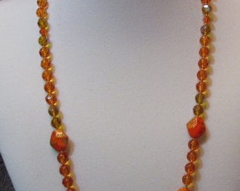 Orange And Yellow Glass Beaded Flex Wire Necklace