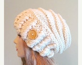 SALE Cream Oversized Winter Hat Slouchy Beanie Slouch Hats Baggy Beret Button womens fall winter accessory White Cream Chunky Hand Made Knit