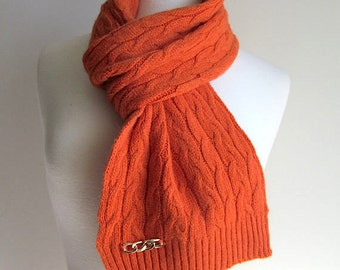Scarf Braided Cable Knit Scarves with Chain Detail Orange Coral Women Girls Winter Spring Fall Accessories