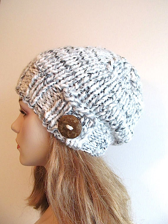 Slouchy Beanie Slouch Wool Hats Oversized Baggy Button Stripes womens fall winter accessory Grey White  Super Chunky Hand Made Knit