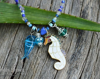 Blue Seahorse Necklace- handmade beaded mystical neptune ocean underwater fantasy warcraft jewelry