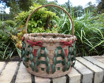 Christmas Tree and Red Bow Round Basket Handwoven Basket Christmas Basket
