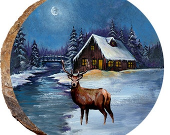 Deer with Winter Moon - DAE311