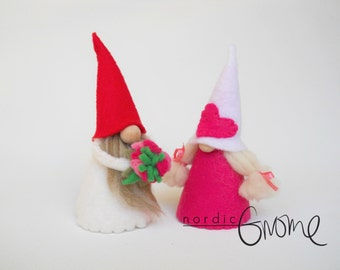 Flowers for you Gnome Pair -  Tomte, Tomten, Nisse, Tonttu - FREE shipping within USA-