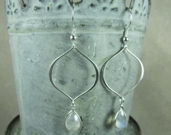 Rainbow moonstone and sterling silver dangle earrings