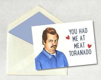 Valentines Day Card Vday Ron Swanson Parks And Recreation Hand Drawn Pan  Art Meat Tornado