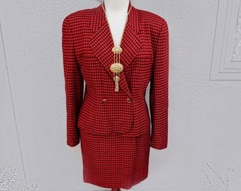 80's 90s Red Plaid Suit, Red Plaid Skirt, Red Plaid Blazer, Plaid Skirt Suit, Clueless Cher Horowitz Outfit, Preppy, Red and Black Suit Set