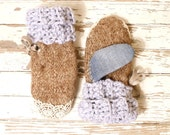 Recycled mittens Brown mittens woman Brown wool mitts Knit woman gloves Eco woman gloves Warm woman gloves Woman gift Knit adult muffs
