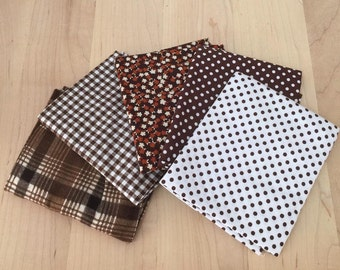 Brown White Cotton Flannel Fabric 5 Coordinating Fat Quarters Calico Polka Dot