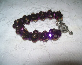 vintage purple beaded bracelet