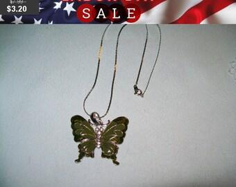 SALE 60% Off vintage butterfly pendant necklace, butterfly pendant, butterfly jewelry