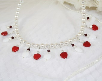 Red Sweet Heart Necklace Valentine Heart Necklace Gift for Her