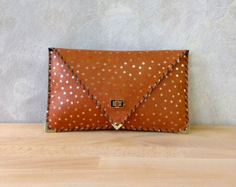 Leather clutch / Tabac leather bag / Brown leather purse / Leather evening bag / Envelope clutch / Stars bag