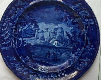 Rare Antique Woods Flow Blue  Plate Italian  Scenery  Castle of Lorenza  19th Century Flow Blue Romantic  Staffordshire  Ceramic 10 inch
