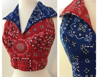 Vintage Reversible Halter in Bandana Print / Small