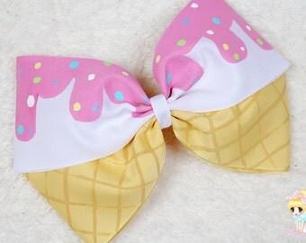 Vanilla Ice Cream bow, Oversized Barrette, Kawaii Hand Painted Hair Bow , Ice Cream Cone Birthday Party, Lolita Fashion, Cosplay, Fairy kei