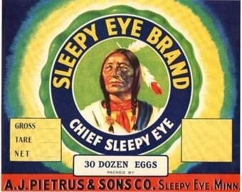 Vintage Indian Sleepy Eye Brand Egg Crate Label