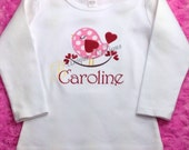Love Bird with Hearts Shirt, Girls Valentine Shirt, Girls Applique Bird Shirt, Girl Tops, Spring Shirt