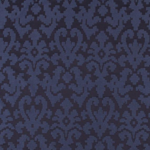 Navy Blue Damask Upholstery Fabric Dark Curtains